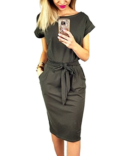 Dress Pockets Women's Asskdan Length Sleeve Dark Short Grey Belted with Knee Casual 00WzFr1n