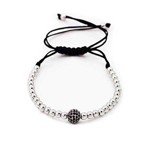 Sundear CZ Beads Braided String Macrame Bracelet Unisex Cubic Zirconia Braiding Balls Handmade Bracelet