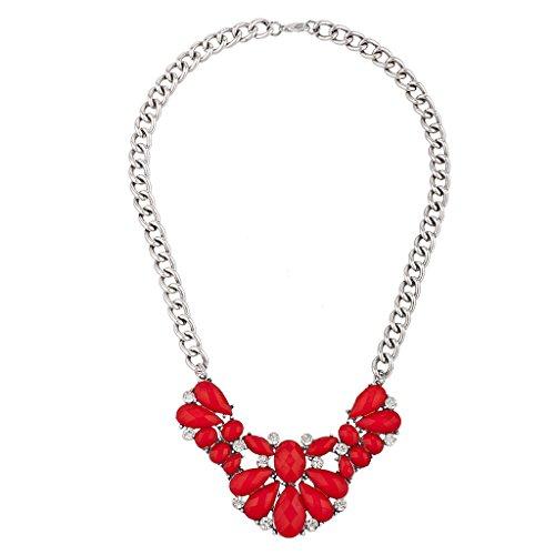 Lux Accessories Silver Tone Crystal Rhinestone Red Shimmer Statement (Silver Tone Rhinestone Crystal)