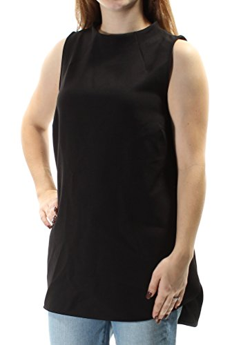 (Alfani Women's Mock Neck Back-Zip Sleeveless Blouse Size 10 Deep Black)