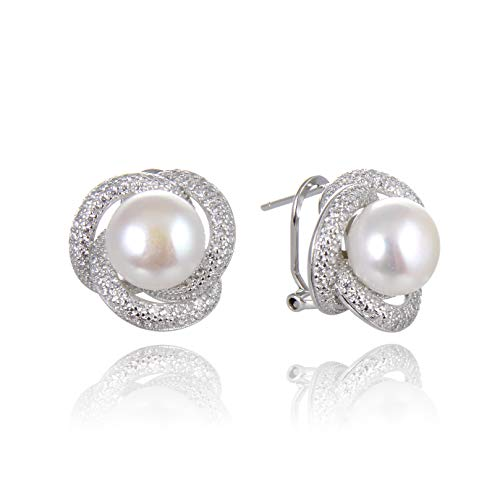 - Ameriwal Natural White Color Fresh Water Pearl Stud Earring Necklace Set with CZ and 925 Sterling Silver Custom Made for Fashion Wear Suitable for All Occasions and Women