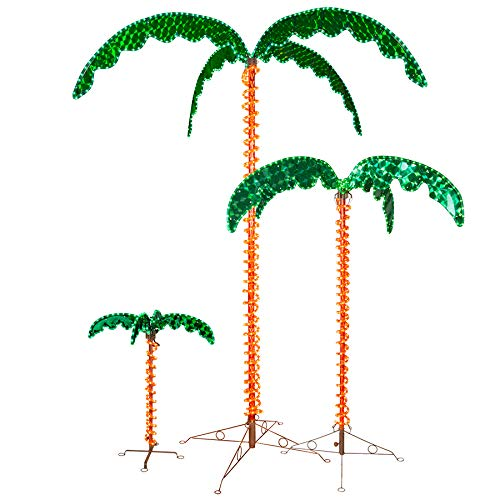 Deluxe Tropical LED Rope Light Palm Tree with Lighted Holographic Trunk and Fronds (4.5 Foot) (Tree Light Up Palm Outdoor)