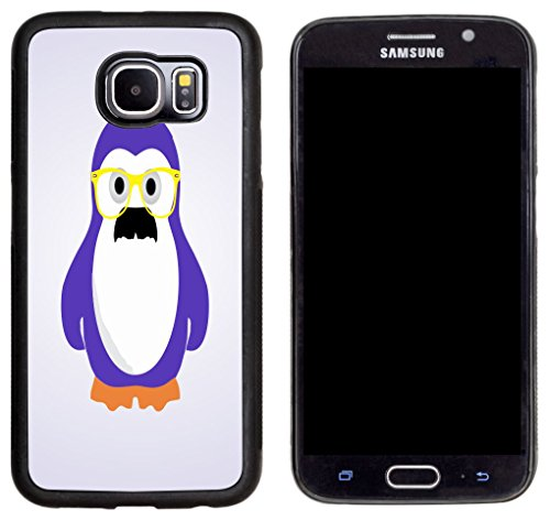Rikki Knight Hipster Purple Mustache Penguin with Glass Design Samsung Galaxy S6 Case Cover - Black