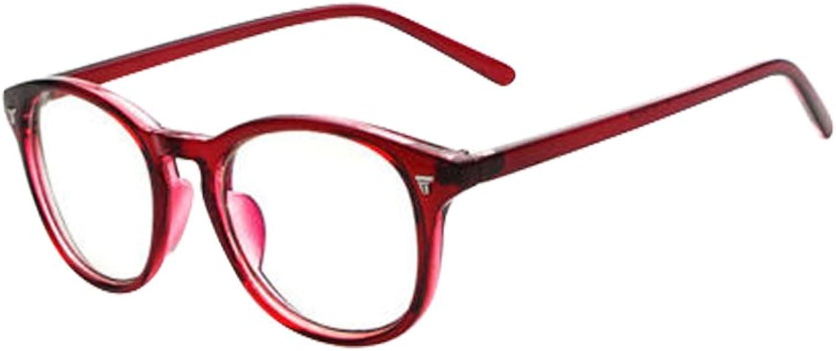 45c720e3c2 Amazon.com  Wine Red Vintage Men Women Eyeglass Frame Glasses Retro  Spectacles Clear Lens Eyewear Rx  Clothing