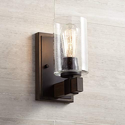 (Poetry Industrial Farmhouse Wall Light Sconce Bronze Wood Grain Hardwired 9