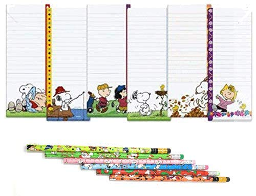 (Peanuts Worldwide Peanuts Characters Lined Magnetic Notepads Shopping List and Pencils Bundle, 12-Piece Set (Linus/Snoopy/Charlie Brown/Woodstock/Sally) )