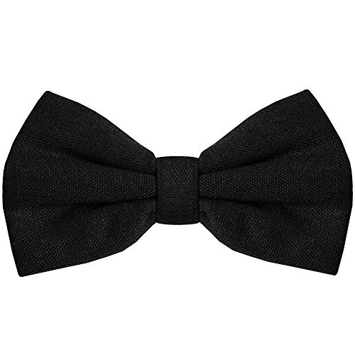 Bow Tie for Men Ties - Mens Pre Tied Formal Tuxedo Bowtie for Adults & Children, Black]()