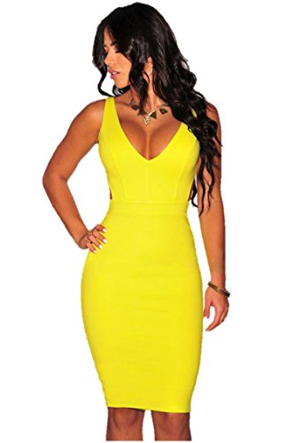 Yellow Sexy Dress (Eastylish Women's Sexy V-neck Open Back Front Bodycon Pencil Womens)