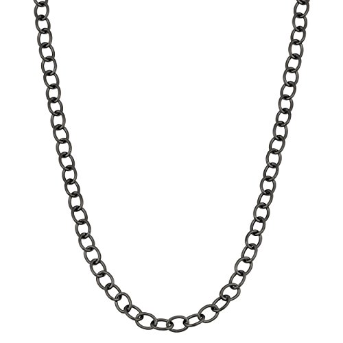 - Kooljewelry Black Ruthenium Over Sterling Silver Forzatina Link Chain Necklace (4.3 mm, 30 inch)