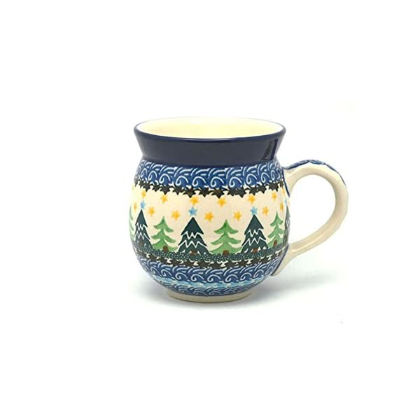 Polish Pottery Mug – 15 oz. Bubble – Christmas Trees