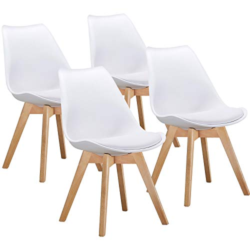 VECELO Retro Dining Side Eames Style Chairs Durable PU Cushion,with Solid Wooden Legs, Set of 4 White