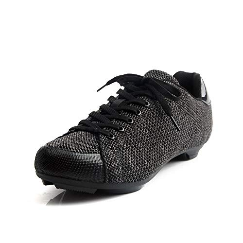 Tiebao Knit Road Shoes Sneaker Style Professional Bicycle Bike Cycling Ultralight Mesh Breathable Shoes SPD SL Look Spin Non-Slip Riding Shoes Lace-up with CLEATS best to buy