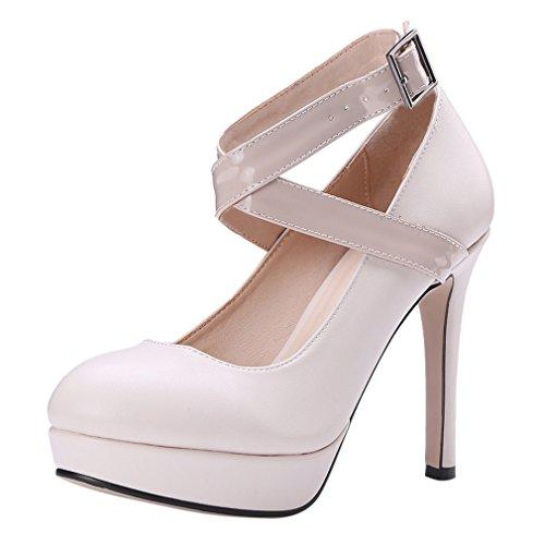 YE Heels Schnalle Schuhe Damen Stiletto Elegant Pumps Plateau High mit Knöchelriemchen Beige 1qr1wxFvR