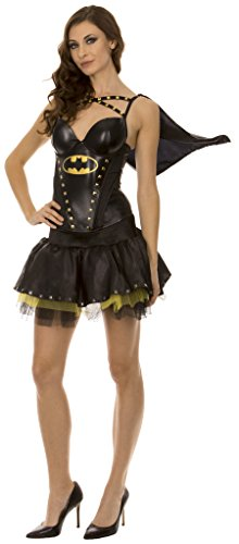 DC Comics Batman Batgirl Catwoman Adult Sexy Studded Corset and Skirt Costume Set (Adult Small) Black/Gold]()