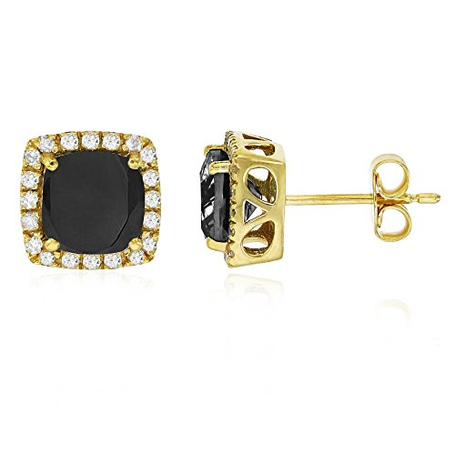 Sterling Silver Yellow 6mm Cushion Onyx & Cr White Sapphire Halo Stud Earring