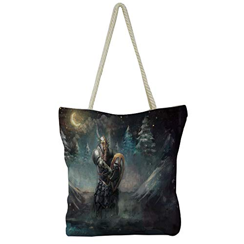 iPrint Handbag Cotton and Linen Shoulder Bag Leisure Fashion,Fantasy,Night Moon Sky with Tree Silhouette Gothic Halloween Colors Scary Artsy Background,Slate Blue,Customizable Design.]()