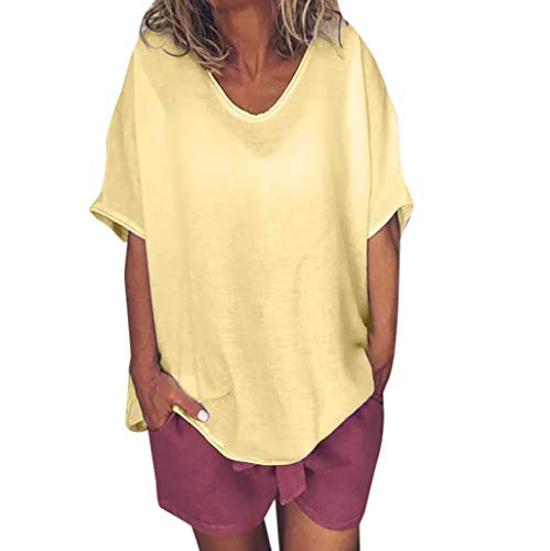 (Women Plus Size Tops Casual Solid Crew Neck Short Sleeve Summer Linen T-Shirt Blouse Yellow)