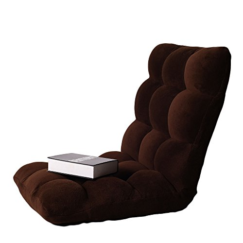 Cheap Ollypulse Indoor Thick Padded Five Position Multiangle Adjustable Floor Sofa Chair, Brown