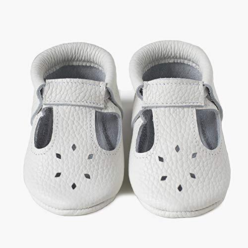 LittleBeMocs T-Strap Baby Moccasins (Italian Leather) Soft Sole Shoes for Boys and Girls | Infants, Babies, Toddlers (6.5, White)