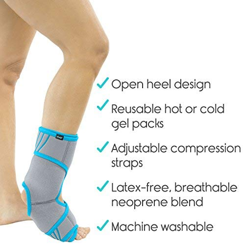 Vive Ankle Ice Pack Wrap - Foot Cold / Hot Compression Brace - Adjustable  Freeze Support For Cooling / Heating Achilles Injuries, Tendonitis, Plantar