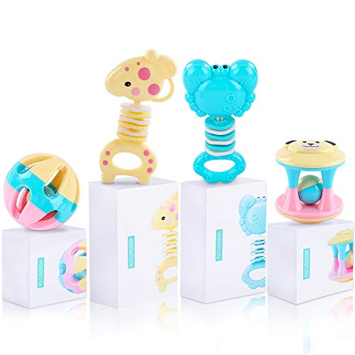 Deluxe 4 PCS Baby Rattles and Sensory Teether, Grab and Shake Rattle with Fun Characters, Early Educational Toys for 3 6 9 12 Month Infant Newborn, Teething Toys BPA Free Perfect