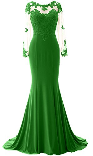 MACloth Elegant Mermaid Long Sleeve Prom Dress Jersey Wedding Party Formal Gown Green P4dVfWfX