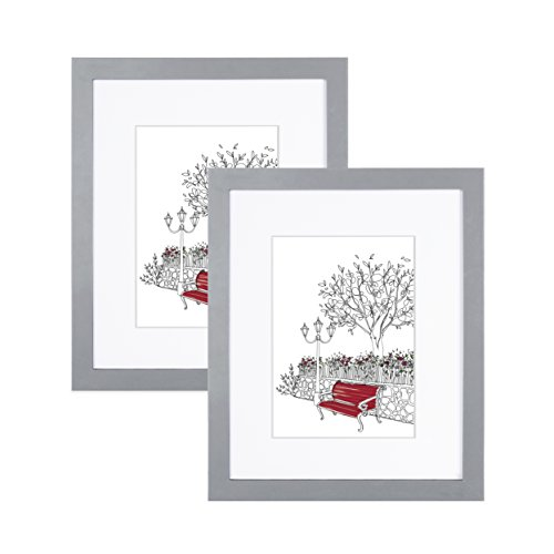 EDGEWOOD Parkwood Wood Real Glass Flat Picture Frame for Wall or Tabletop Photo, 8x10, Gray, 2-Pack