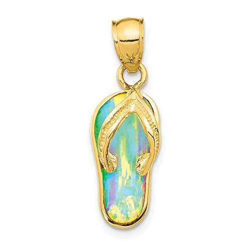 Flop 14k Gold Opal Flip - 14k Yellow Gold Created White Opal Flip Flop Pendant Charm Necklace Sea Shore Sal Fine Jewelry Gifts For Women For Her