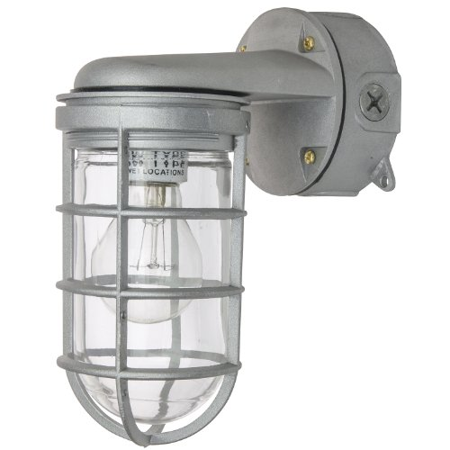 Sunlite VTA100 9.7-Inch 100 Watt Vapor Proof Vandal Proof Outdoor Fixture, Metallic Finish Clear Glass