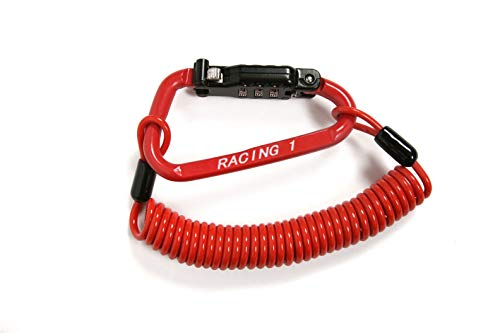 Steel Motorcycle Helmet Lock Carabiner Combination (Red) with 6 Feet of Coiled Cable. Universal Compatibility with Motorcycles Motorbike Scooter Moped. Secure your Gear or Jacket to Your Bike