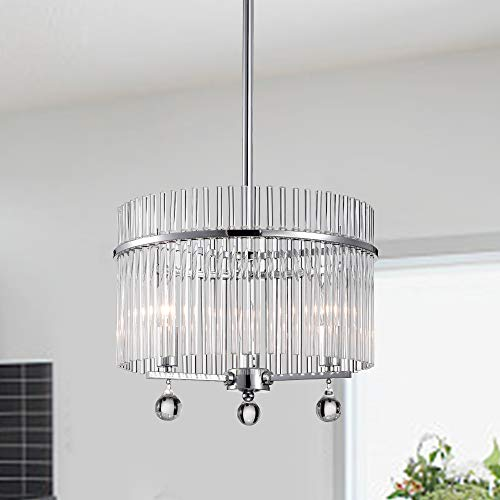 Warehouse of Tiffany Chrome 2-Light Pendant with Crystal Clear Shade HM054/2