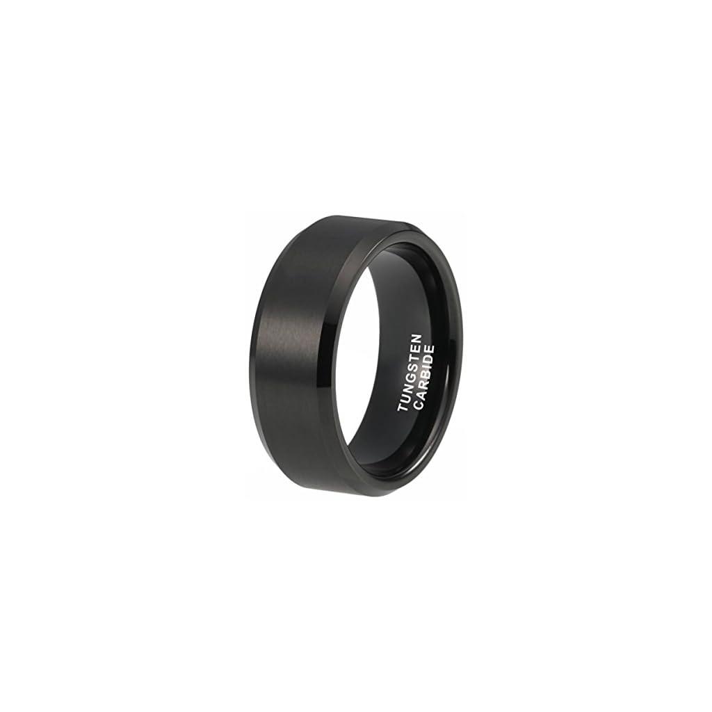 iTungsten 4mm 6mm 8mm Silver/Black/White/Gunmetal/18K Gold/Rose Gold Tungsten Rings for Men Women Wedding Bands Matte Finish Beveled Edges Comfort Fit