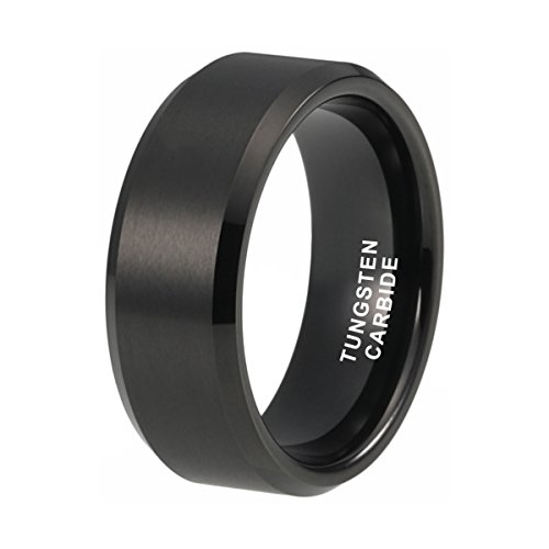- iTungsten 8mm Black Tungsten Rings for Men Women Wedding Bands Matte Finish Beveled Edges Comfort Fit