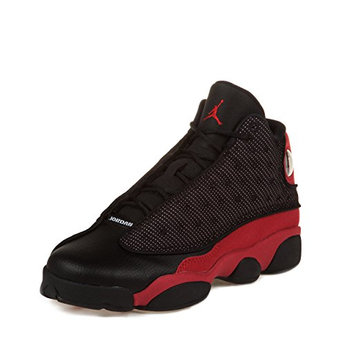 Nike Boys Air Jordan 13 Retro (GS) ''Bred'' Black/Varsity Red-White Leather Basketball Shoes Size 6.5Y by NIKE