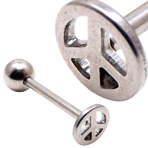 argent signe de paix bar symbole langue logo barbell de calibre 14 (1,6mm x 16mm)