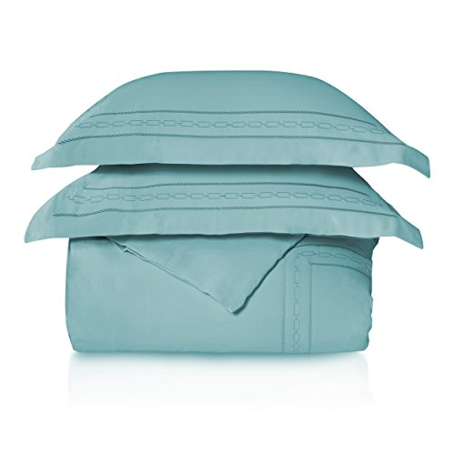 Superior 1000 Thread Count 100% Egyptian Cotton Full/Queen Embroidered Duvet Set Teal