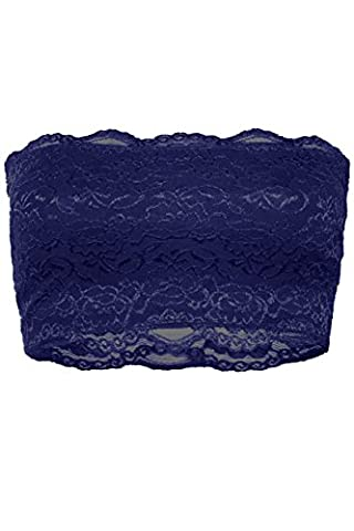 ViiViiKay Women's Sexy Flocal Color Lace Strapless Bandeau Strechy Tube Bra Tops NAVY L (Navy Blue Lace Bra)
