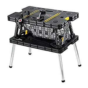 KETER Stand, Woodworking Tools and Accessories with Included 12 Inch Wood Clamps – Easy Garage Storage, Black/Yellow…