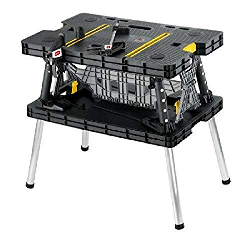 Keter – 197283 Folding Table Work Bench for Miter Saw Stand, Woodworking Tools and Accessories with Included 12 Inch…
