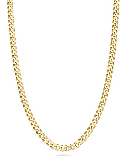 (MiaBella Solid 18k Gold Over Sterling Silver Italian 3.5mm Diamond Cut Cuban Link Curb Chain Necklace for Women Men, 16