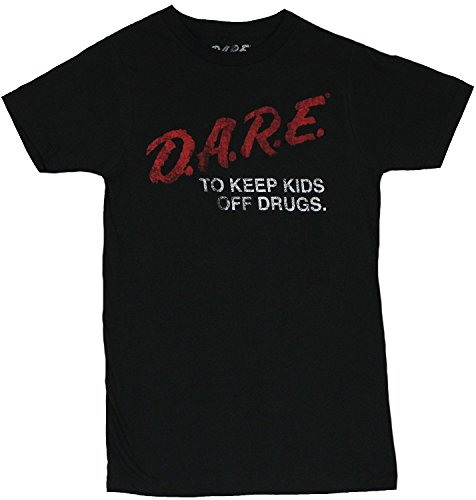 Sun-Tshirt D.A.R.E. Mens T-Shirt -Keep Kids Off Drugs Classic Distressed Dare Logo