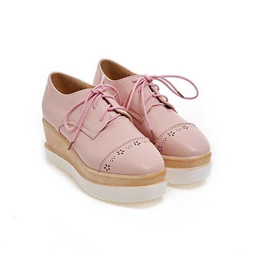 AllhqFashion Damen PU Schnüren Quadratisch Zehe Mittler Absatz Pumps Schuhe Pink
