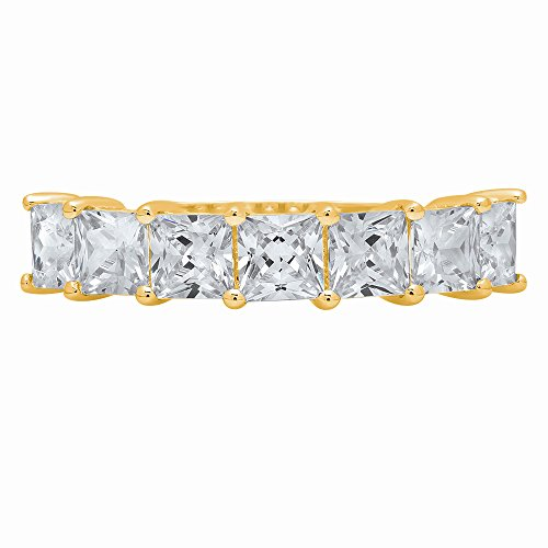 1.65ct Brilliant Princess Cut Promise Engagement Bridal Wedding Infinity Petite Eternity Stacking Band in 14K Solid Yellow Gold for Women, 9 by Clara Pucci
