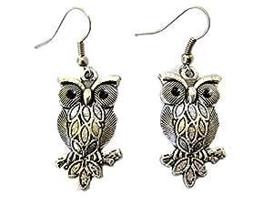 Art Rhodium Handmade Antique Style Silver-Tone Dangle Owl Earrings