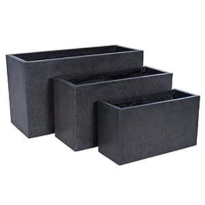 LUX bajo negro rectangular maceta