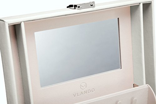 Vlando Faux Leather Jewelry Box Organizer, 6 Colors Available, Vintage Gift Case (White) by Vlando (Image #5)