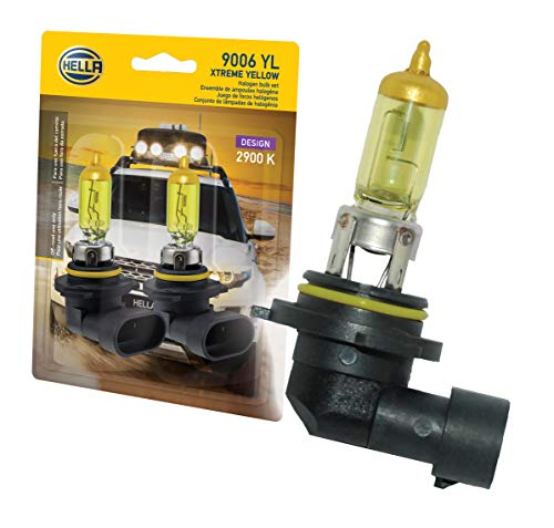 HELLA 9006 Yellow-55W YL Xtreme Yellow Bulbs, 12V, 55W 2 Pack