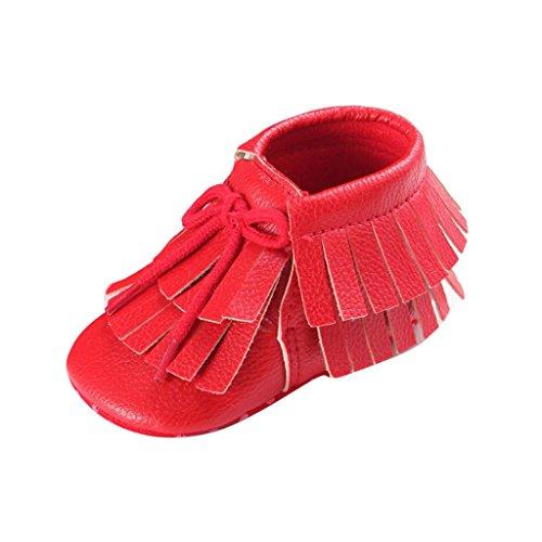 Hunpta Babyschuhe Mädchen Jungen Lauflernschuhe Baby Quasten Schuhe Kleinkind weiche Sohle Turnschuhe Freizeitschuhe (12, Navy) Rot
