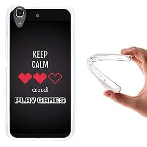 Funda Huawei Y6 - Honor 4A, WoowCase [ Huawei Y6 - Honor 4A ] Funda Silicona Gel Flexible Pixel - Keep Calm and Play Games, Carcasa Case TPU Silicona - Transparente