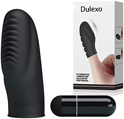 Dulexo Fingervibrator Vibratoren für sie Klitoris und G-punkt Erotik Spielzeug Sextoy für Paare&Frauen,Silikon Schwarz